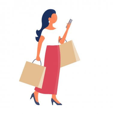 A beautiful girl goes shopping and talks on the phone. She is wearing a long red skirt. In the hands of the packages. Vector isolated flat illustration