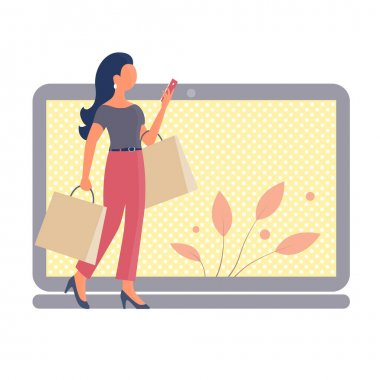A beautiful girl goes shopping and talks on the phone. In the hands of the packages. In the background is a laptop. Online store concept. Vector isolated flat illustration
