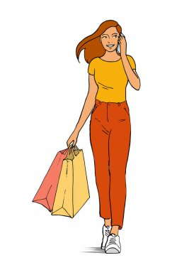 A beautiful girl goes shopping and talks on the phone. In the hands of the packages. Vector isolated outline illustration on a white background