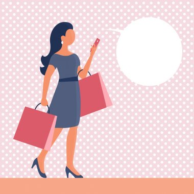 A beautiful girl goes shopping and talks on the phone. In the hands of the packages. Vector flat illustration