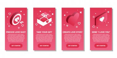 Banners template with isometric heart, gift box, target with arrow and text bubble. White background, vector illustration. Valentine's day web banners concept icon