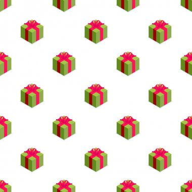 Seamless pattern of green gift box with bow. Gift for party, celebration, special event like birthday, christmas, valentines day. Modern vector illustration in isometric style. Isolated on white icon