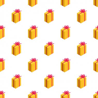 Seamless pattern of yellow gift box with bow. Gift for party, celebration, special event like birthday, christmas, valentines day. Modern vector illustration in isometric style. Isolated on white icon