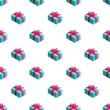 Seamless pattern of blue gift box with bow. Gift for party, celebration, special event like birthday, christmas, valentines day. Modern vector illustration in isometric style. Isolated on white icon