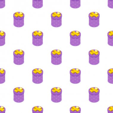 Seamless pattern of purple gift box with bow. Gift for party, celebration, special event like birthday, christmas, valentines day. Modern vector illustration in isometric style. Isolated on white icon