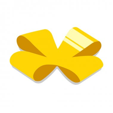 Yellow bow. For party, celebration, special event like birthday, christmas, valentines day. Modern vector illustration in isometric style. Isolated on white background. icon