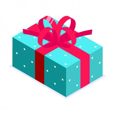 Turquoise blue gift box with red bow. Gift for party, celebration, special event like birthday, christmas, valentines day. Modern vector illustration in isometric style. Isolated on white background. icon