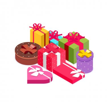 Pile of bright, colorful presents and gift boxes with ribbon bows. Gifts for any occasion like Christmas, birthday party, valentines day. Vector illustration in isometric style. Isolated on white icon