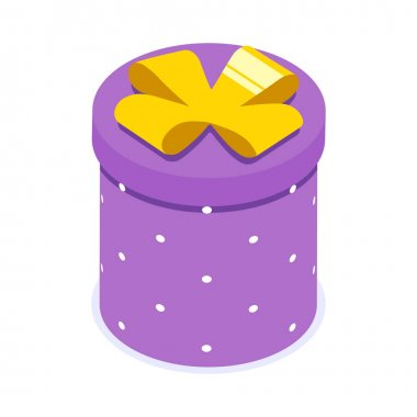 Purple gift box with yellow bow. Gift for party, celebration, special event like birthday, christmas, valentines day. Modern vector illustration in isometric style. Isolated on white background. icon
