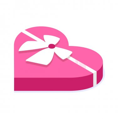 Pink gift box in shape of heart. Gift for celebration, special event like birthday, valentines day. Modern vector illustration in isometric style. Isolated on white background. icon