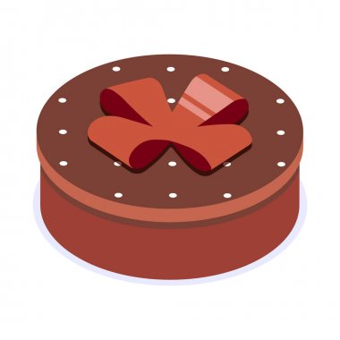 Brown gift box with bow. Gift for party, celebration, special event like birthday, christmas, valentines day. Modern vector illustration in isometric style. Isolated on white background. icon