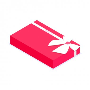 Red rectangular gift box. Gift for party, celebration, special event like birthday, christmas, valentines day. Modern vector illustration in isometric style. Isolated on white background. icon