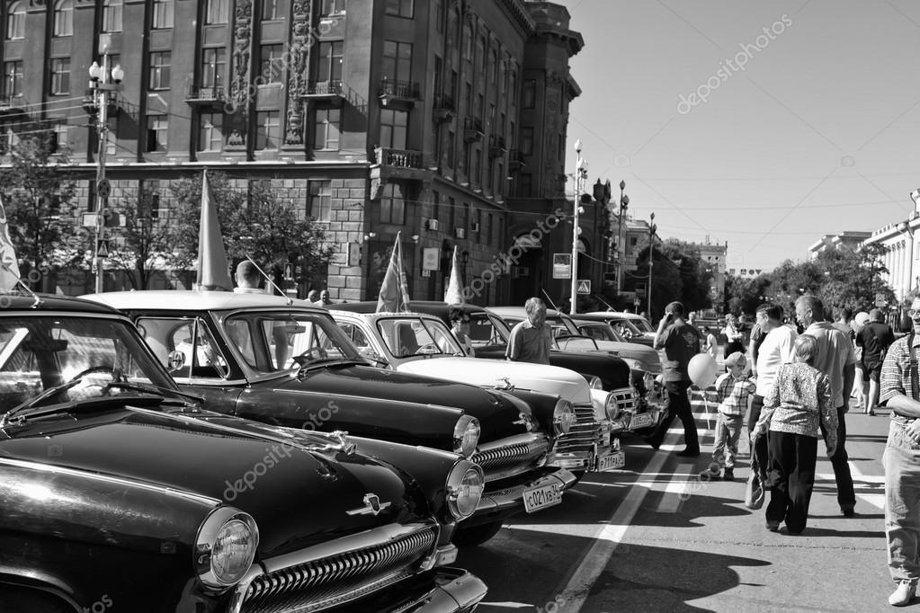 Exhibition of vintage cars in celebration