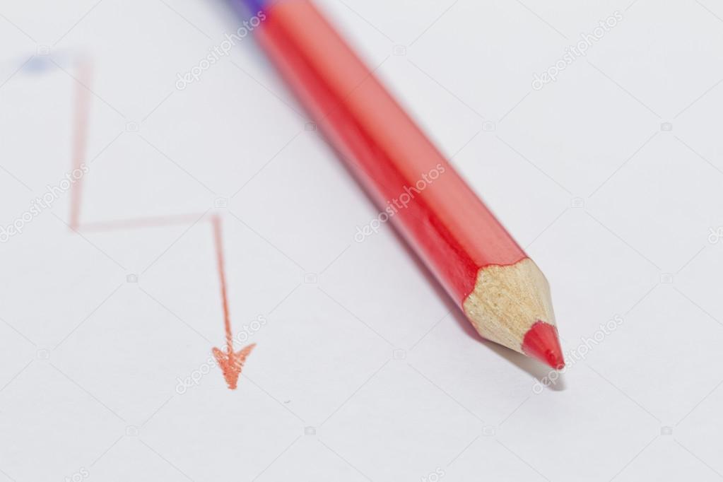 05f20d5ed558 Graphics gezeichnet beidseitig Bleistift: blau und rot — Stockfoto ...