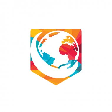 World hand logo. Save world logo design. Global care logo concept. icon
