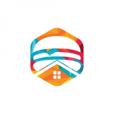 Burger house vector logo design. American classic burger house logo. icon