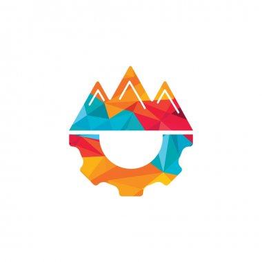 Mountain Gear vector logo design. Nature and mechanic symbol or icon. icon