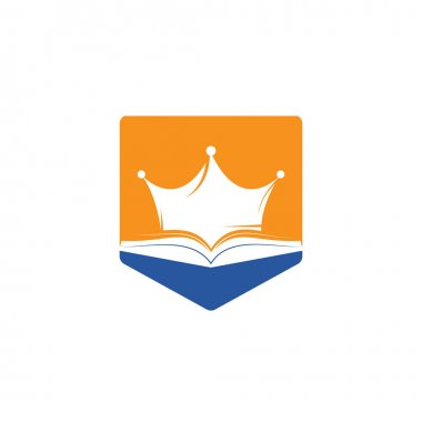 King Book vector logo template design. Vector book and crown logo concept. icon