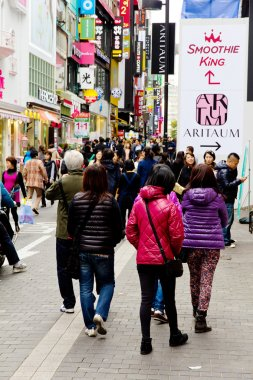 Young people shopping in the Myeongdong Shopping Street