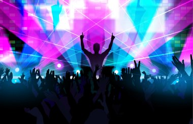 Electronic dance music festival with dancing people and glowing lights