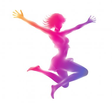 Abstract mock up composition of colorful silhouette of slim  girl jumping hands up.