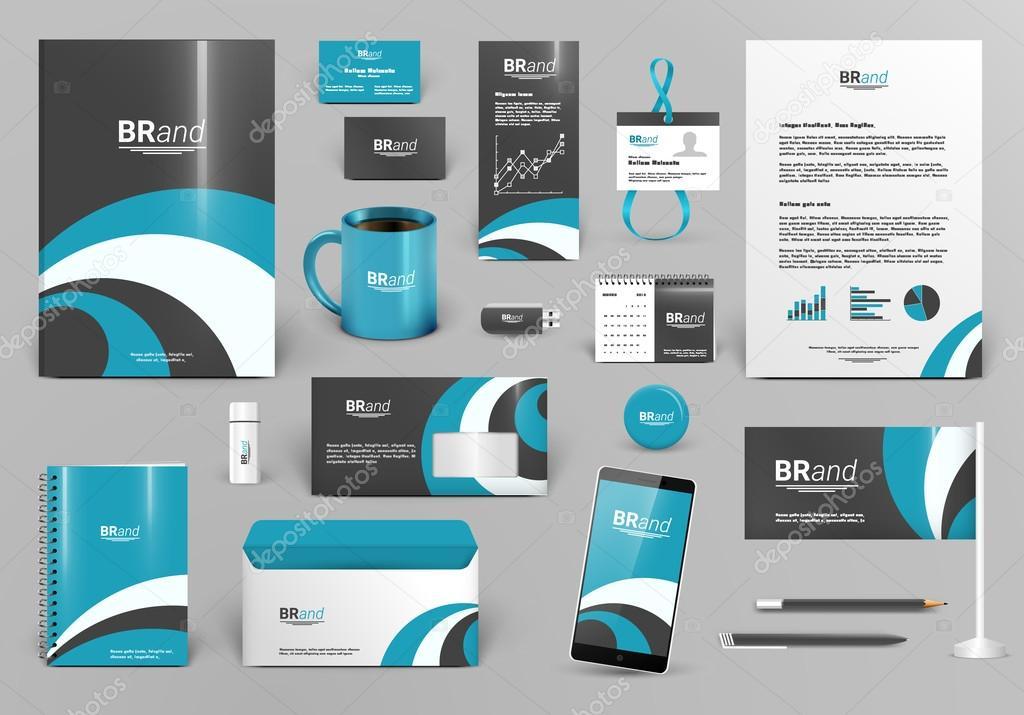 Kit de diseño marca de lujo azul. Plantilla de identidad corporativa ...