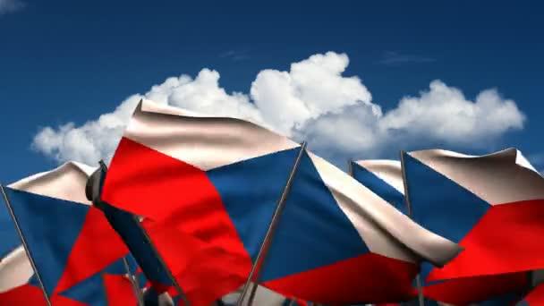 Mávající České vlajky