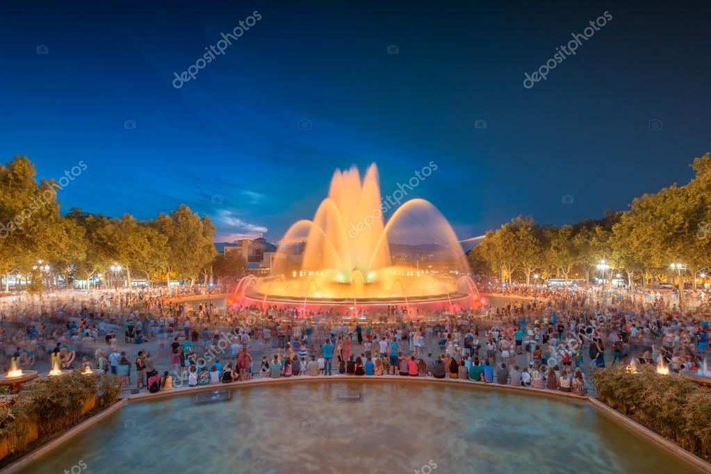 night view of Magic Fountain in Barcelona