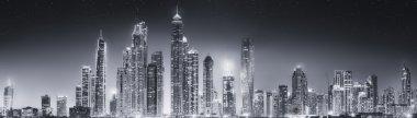 The beauty panorama of Dubai, black and white