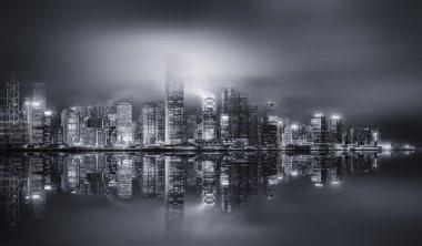 Panorama of Hong Kong, black and white