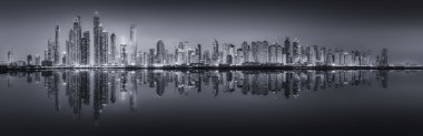 The beauty panorama of Dubai, black and white