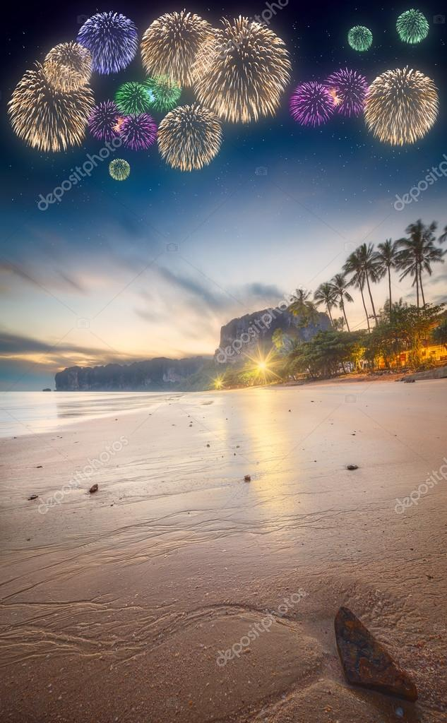 Beautiful fireworks above tropical landscape, Thailand