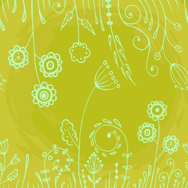Seamless pattern flowers leaves abstract doodle hand drawn lines in yellow monochrome