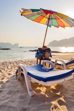 Chaise lounge on a tropical beach