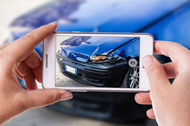car accident phone photography