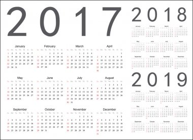 Set of european 2017, 2018, 2019 year vector calendars