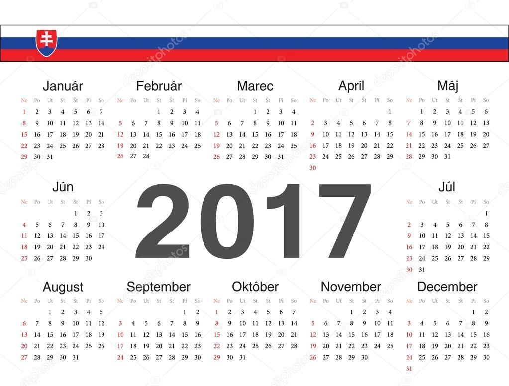 slovensky kalendar Vektorové slovenský okruh kalendář 2017 — Stock Vektor © julvil11  slovensky kalendar