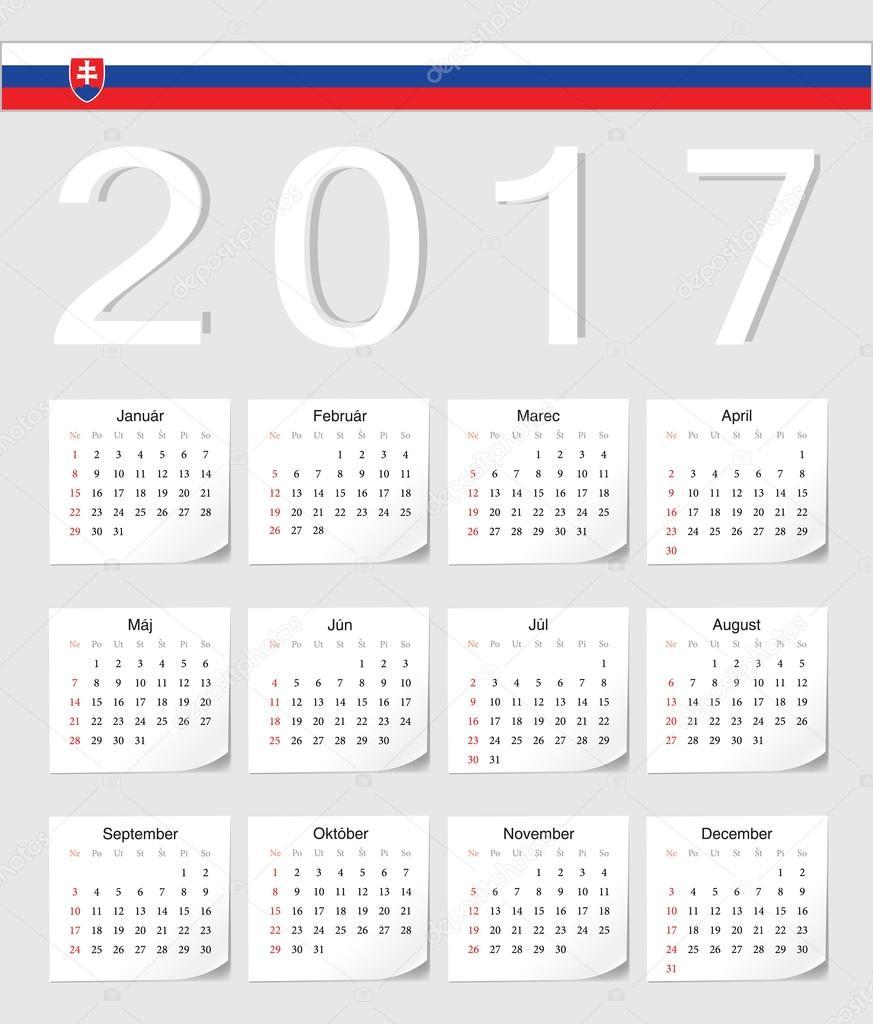 slovensky kalendar 2017 slovenský kalendář — Stock Vektor © julvil11 #110479752 slovensky kalendar