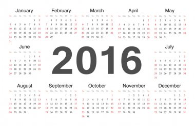 Vecto rcircle calendar 2016