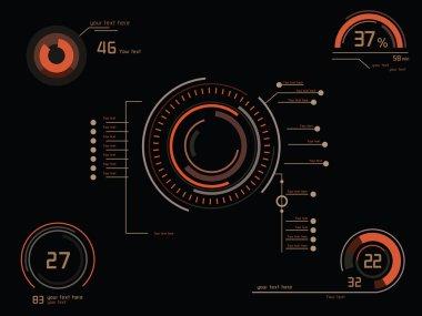 Futuristic orange infographics