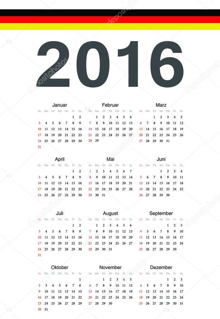 nemecky kalendar německý kalendář 2016 rok vektor — Stock Vektor © julvil11 #67268391 nemecky kalendar