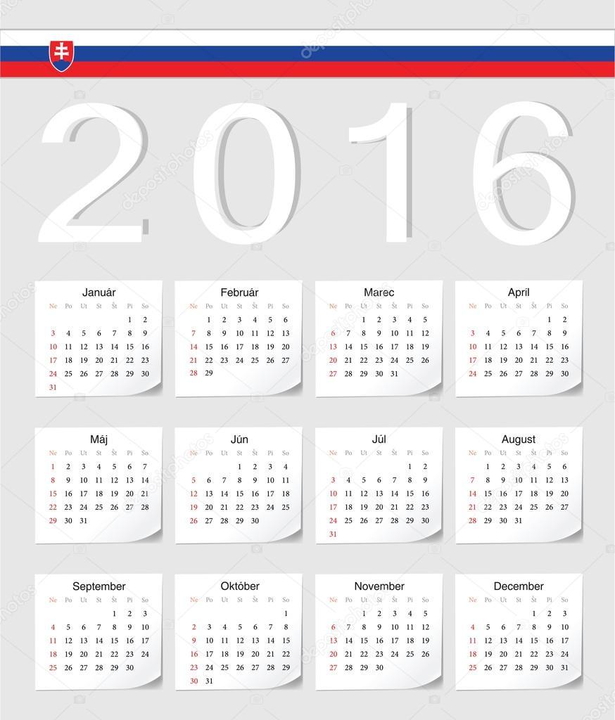slovensky kalendar 2016 slovenský kalendář — Stock Vektor © julvil11 #67596381 slovensky kalendar