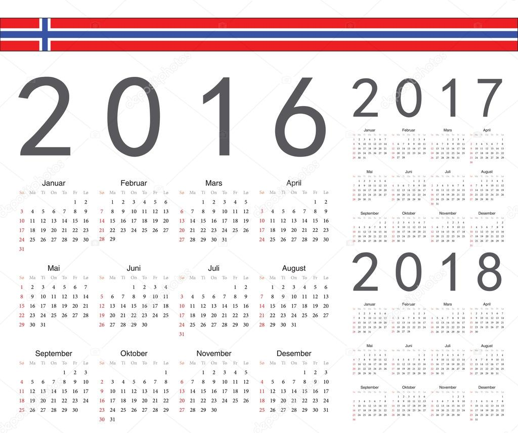 set of norwegian 2016 2017 2018 year vector calendars week starts from sunday vector by julvil11