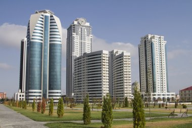 High-rise buildings in a modern area of the city of Grozny - District of Grozny City