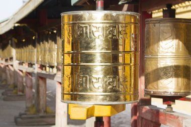 Prayer drums with mantras in one of the Buddhist temples in Mongolia