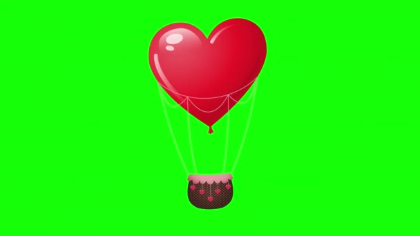 Animation of hot air balloon heart shaped. Red heart balloon moves from side to side. Template animated card for Valentines Day, Mothers Day, 8 march, Wedding, Honeymoon, Love travel. Alpha Channel.