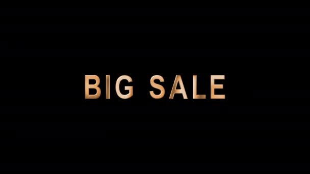 Animated text in gold letters Big Sale. Template Tag of Black Friday with 3d Gold Lettering. Black Friday sale in gold chrome text. Luxury banner for business and advertisement. Alpha Channel. 4K