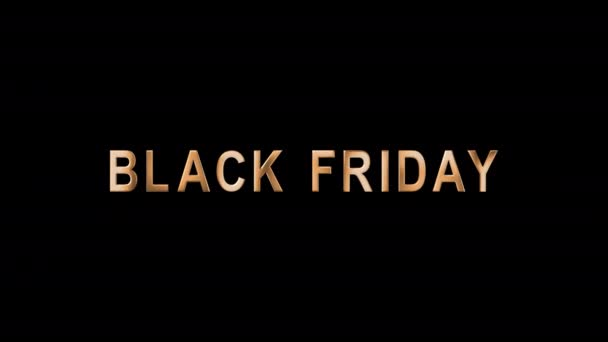 Animated text in gold letters Black Friday. Template Tag of Black Friday with 3d Gold Lettering. Black Friday sale in gold chrome text. Luxury banner for business and advertisement. Alpha Channel. 4K