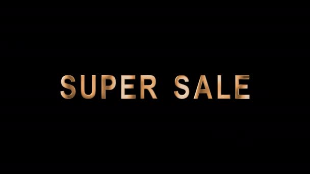 Animated text in gold letters Super Sale. Template Tag of Black Friday with 3d Gold Lettering. Black Friday sale in gold chrome text. Luxury banner for business and advertisement. Alpha Channel. 4K