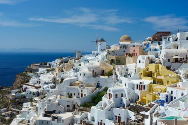 Oia, colourful village in Santorini, Greece. Beautiful views to Caldera